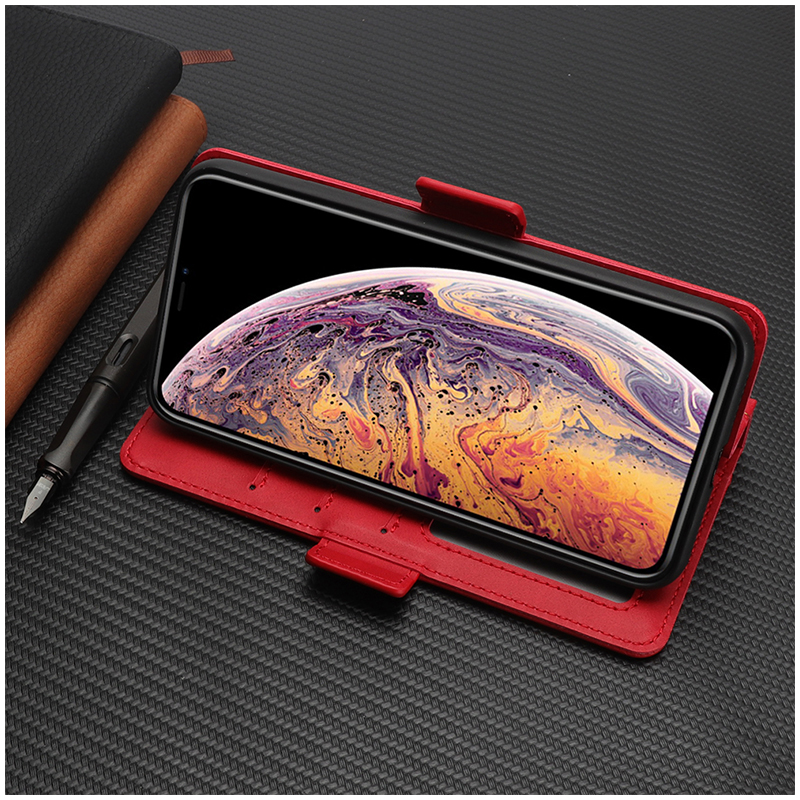 Bible Style Business Horizontal Flip Stand Wallet Leather Case for iPhone XR - Red