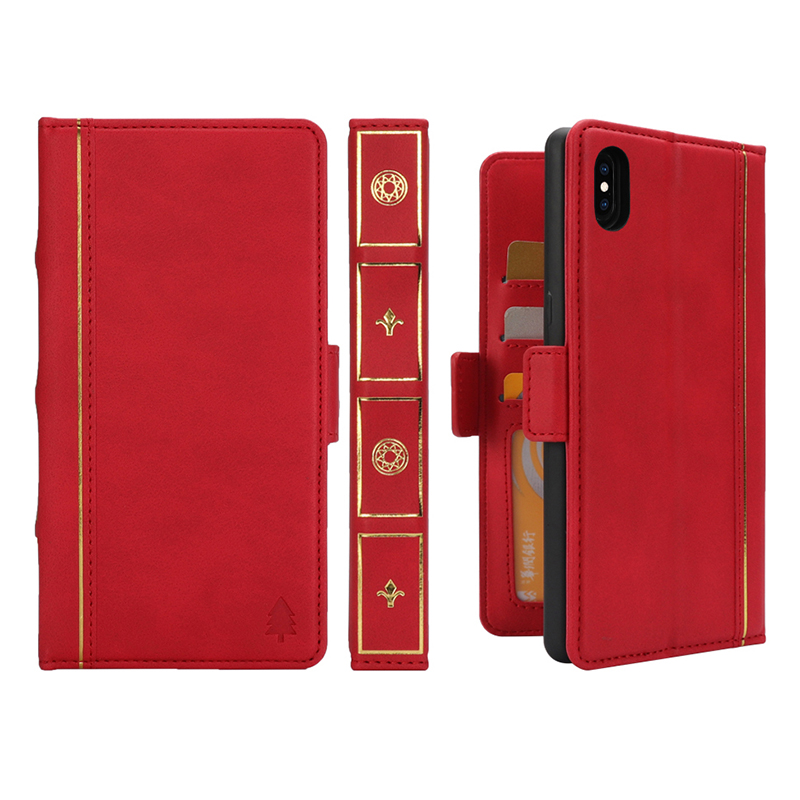 Bible Anti-knock Kickstand with Card Pocket Flip Wallet Leather Case for iPhone X/XS - Red