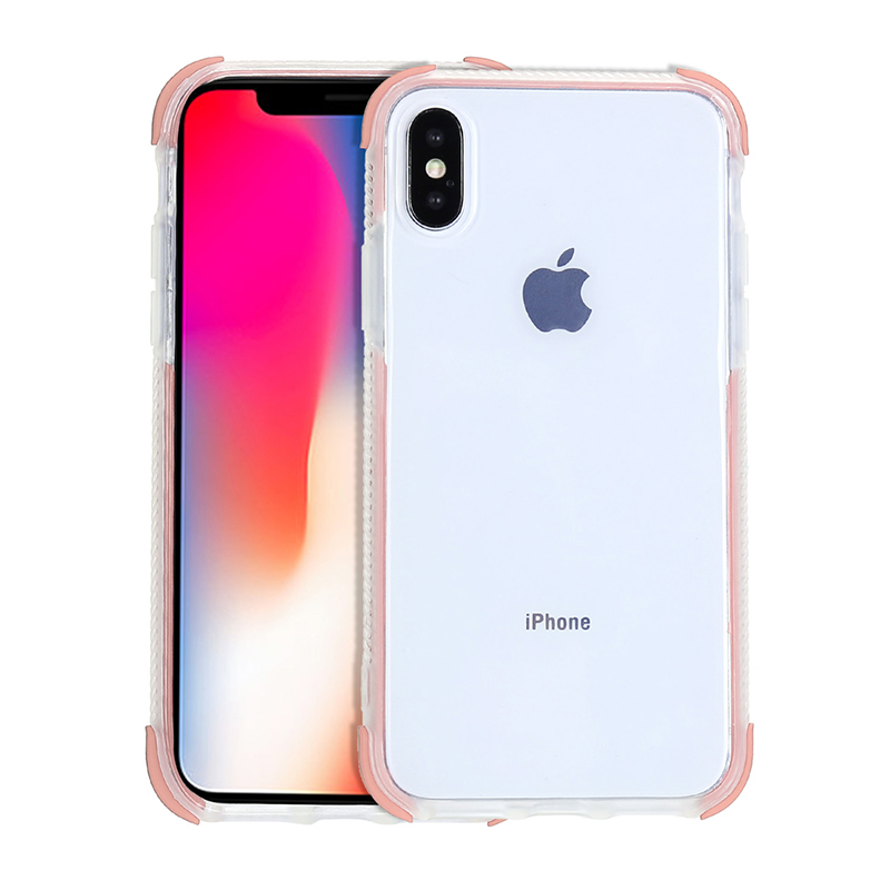 Ultra Thin Soft TPU Phone Cover Transparent Protective Case for iPhone X/XS - Pink
