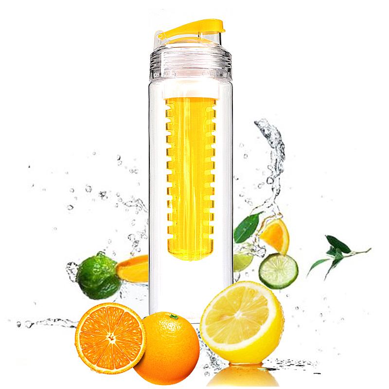 800ML Creative Sport Fruit Infusing Filter Isolation Plastic Water Bottle Outdoor Lemon Bottle - Yellow