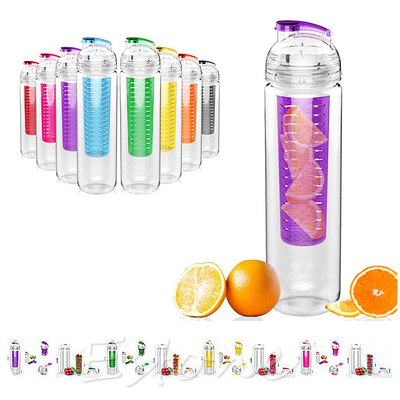 800ML Creative Sport Fruit Infusing Filter Isolation Plastic Water Bottle Outdoor Lemon Bottle - Black