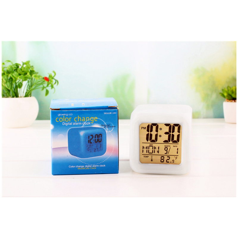 7 Colors Glowing LED Digital Silent Alarm Clock Cube with Date Day and Temperature Display