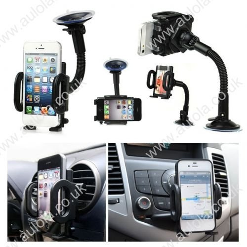 Car Swivel Air Frame Vent Holder + Phone In Car Windscreen Suction Mount Holder Cradle Stand