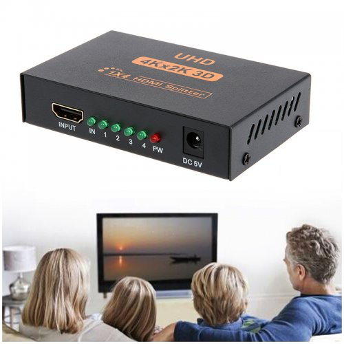 4Kx2K 3D 1 In 4 Out HD 1x4 4 Port HDMI Splitter Adapter Hub Repeater Amplifier