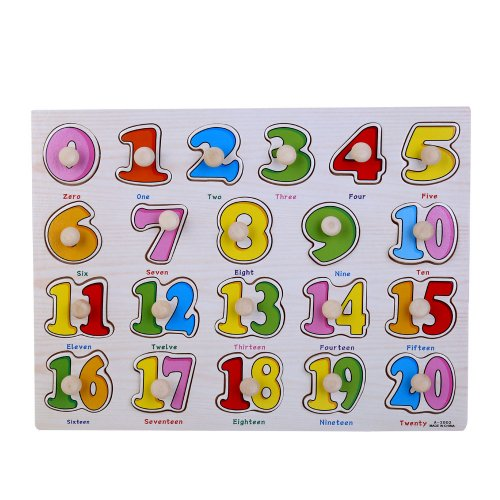 Early Education Enlightenment Baby Kids Cognitive Board Grasping Board Letter Number Graphics Wooden Puzzle - Number