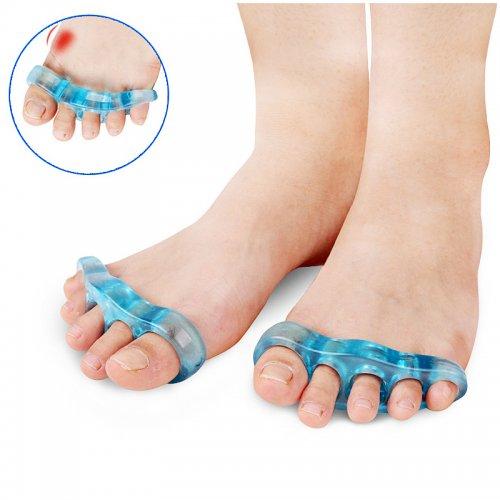 1 Pair Silicone Bunion Corrector Toe Protectors Straightener Toe Silicone Separator - 5 Blue
