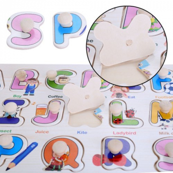 Early Education Enlightenment Baby Kids Cognitive Board Grasping Board Letter Number Graphics Wooden Puzzle - Letter