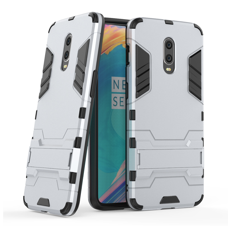 Hybrid TPU PC Iron Man Rugged Armor Phone Case Holder Stand Cover for Oneplus 6T - Silver