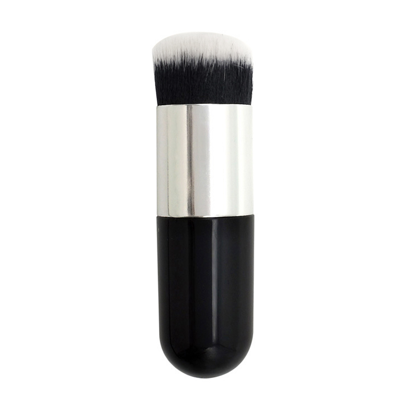 Artificial Fiber Foundation Brush Flat Portable BB Cream Cosmetic Makeup Powder Brushes - Black+Silver