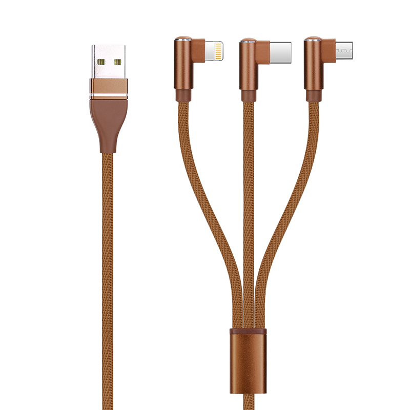 3 in 1 Portable Super Convenient Type-C Micro USB Lightning Charger Connector Cable Fit for Android Phone iPhone iPad - Brown