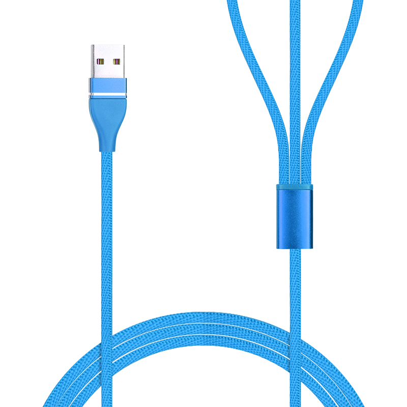 3 in 1 Portable Super Convenient Type-C Micro USB Lightning Charger Connector Cable Fit for Android Phone iPhone iPad - Blue