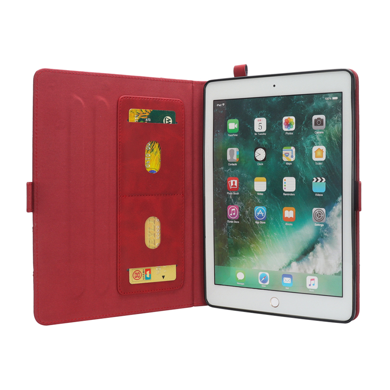 "Flip Double Holder Leather Tablet Case with Card Slot Kickstand Pen Slot for iPad Pro 12.9"" 2016/2017 - Red"