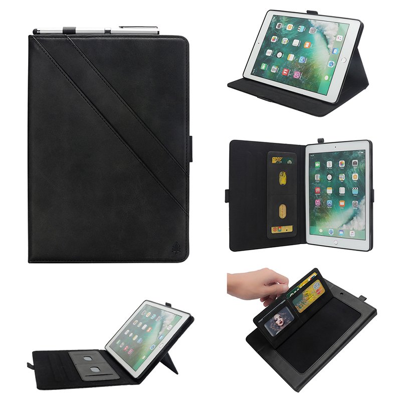 "Flip Double Holder Leather Tablet Case with Card Slot Kickstand Pen Slot for iPad Pro 12.9"" 2016/2017 - Black"