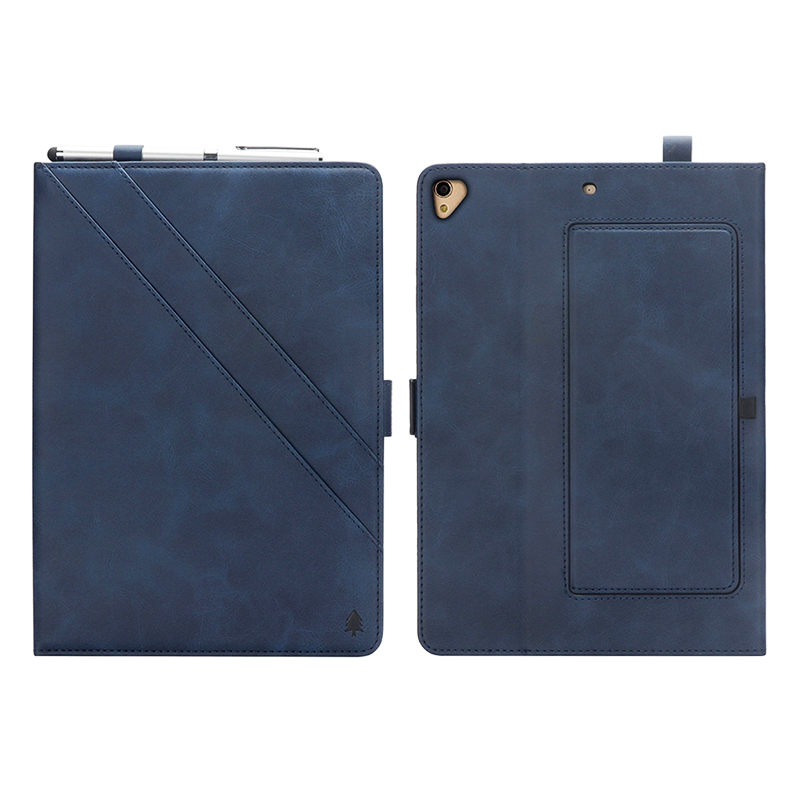 "Flip Double Holder Leather Tablet Case with Card Slot Kickstand Pen Slot for iPad Pro 12.9"" 2016/2017 - Blue"