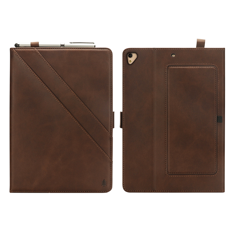 "Flip Double Holder Leather Tablet Case with Card Slot Kickstand Pen Slot for iPad Pro 12.9"" 2016/2017 - Dark Brown"