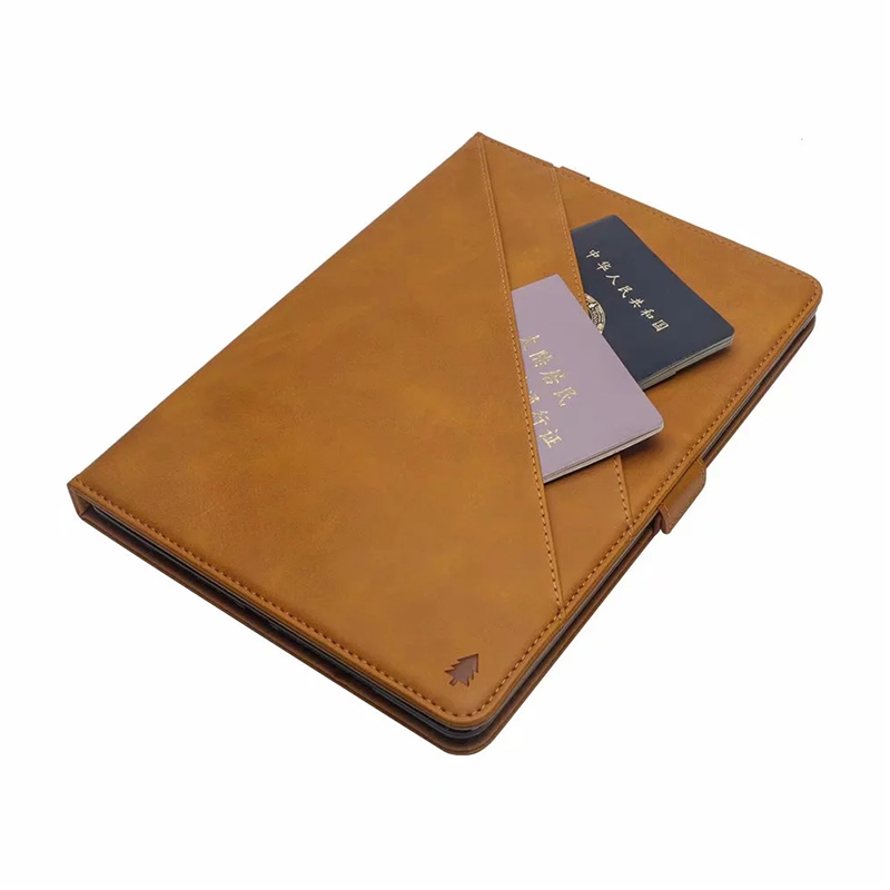 "Flip Double Holder Leather Tablet Case with Card Slot Kickstand Pen Slot for iPad Pro 12.9"" 2016/2017 - Light Brown"