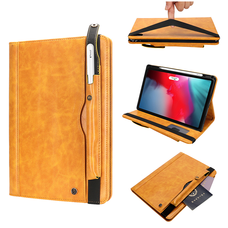 "Tablet PC Flip Wallet PU Leather Case Cover with Card Pen Slot Kickstand for iPad Pro 11"" 2018 - Yellow"