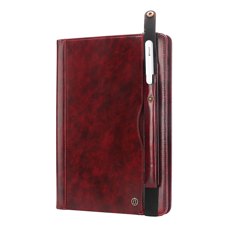 "Tablet PC Flip Wallet PU Leather Case Cover with Card Pen Slot Kickstand for iPad Pro 11"" 2018 - Wine Red"