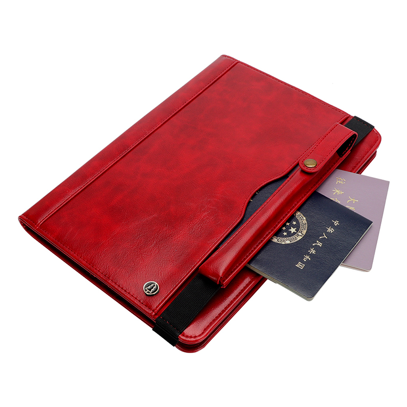 "Tablet PC Flip Wallet PU Leather Case Cover with Card Pen Slot Kickstand for iPad Pro 11"" 2018 - Red"