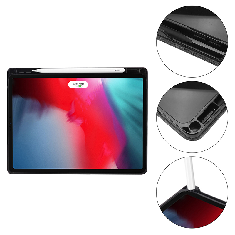 """Tablet PC Flip Wallet PU Leather Case Cover with Card Pen Slot Kickstand for iPad Pro 11"""" 2018 - Black"""