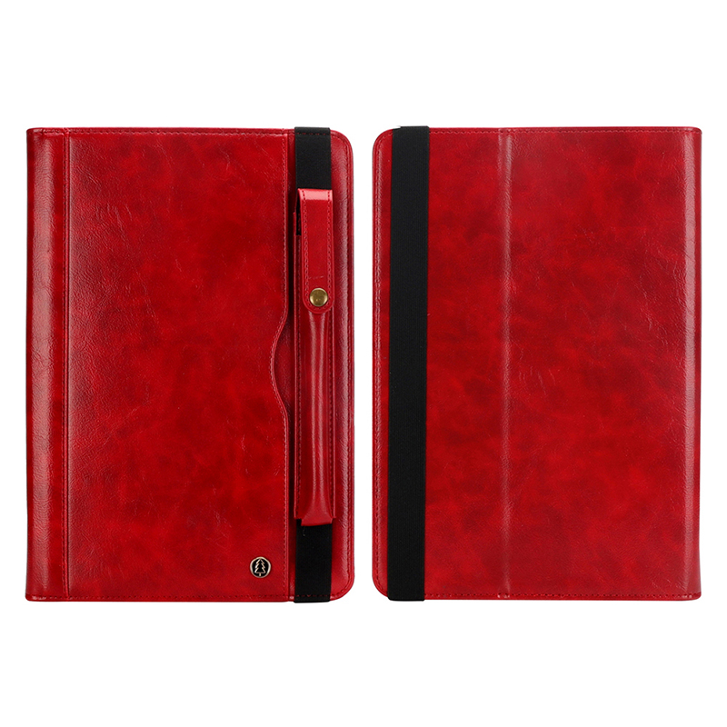 "Tablet PC Flip Wallet PU Leather Cover Case with Card Slot Pencil Holder Kickstand for iPad Pro 12.9"" 2018 - Red"