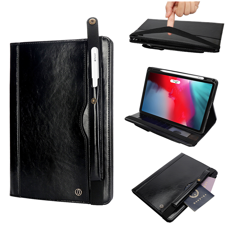 "Tablet PC Flip Wallet PU Leather Cover Case with Card Slot Pencil Holder Kickstand for iPad Pro 12.9"" 2018 - Black"