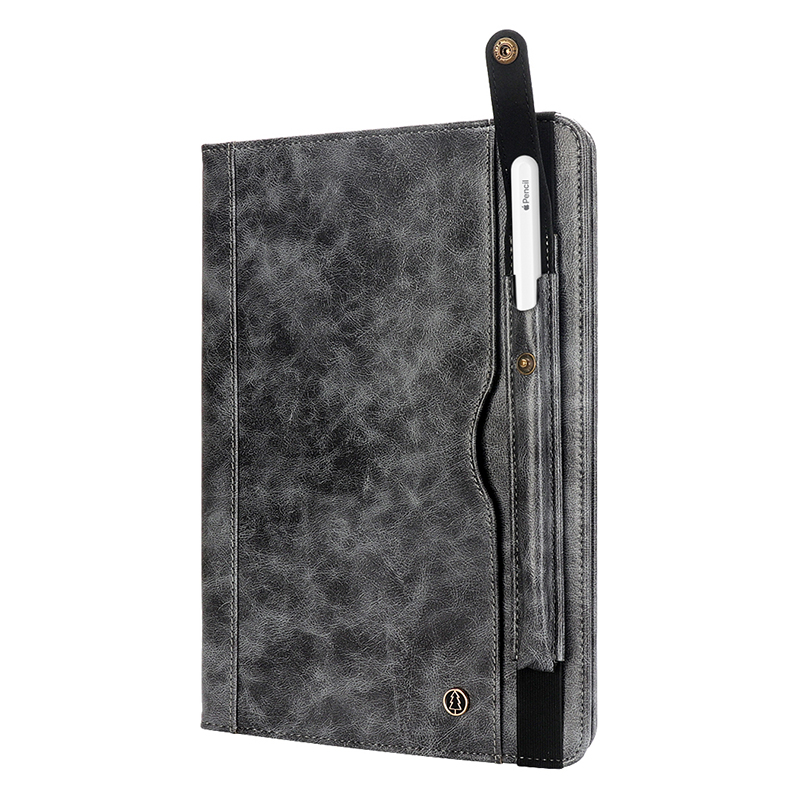 "Tablet PC Flip Wallet PU Leather Cover Case with Card Slot Pencil Holder Kickstand for iPad Pro 12.9"" 2018 - Grey"