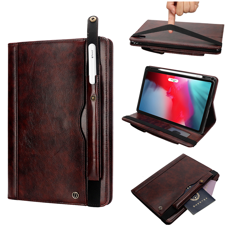 "Tablet PC Flip Wallet PU Leather Cover Case with Card Slot Pencil Holder Kickstand for iPad Pro 12.9"" 2018 - Dark Brown"
