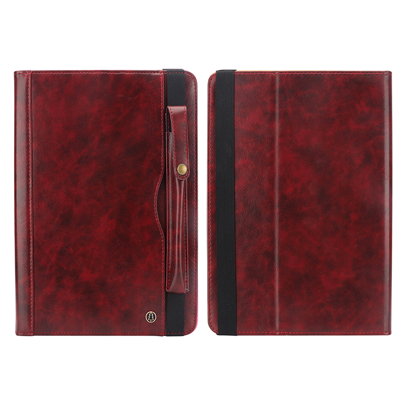 "Tablet PC Flip Wallet PU Leather Cover Case with Card Slot Pencil Holder Kickstand for iPad Pro 12.9"" 2018 - Wine Red"