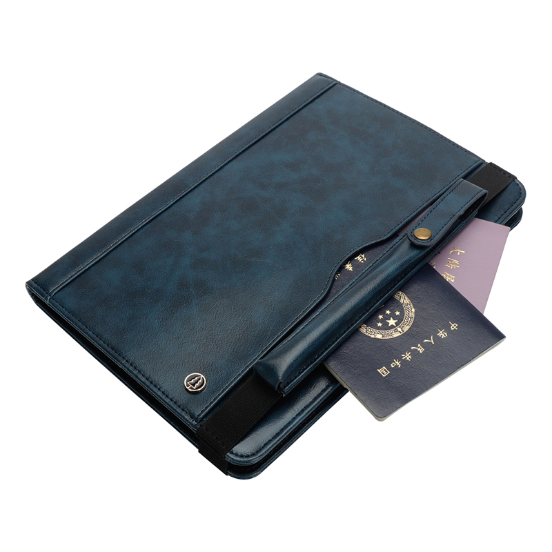 "Tablet PC Flip Wallet PU Leather Cover Case with Card Slot Pencil Holder Kickstand for iPad Pro 12.9"" 2018 - Navy Blue"