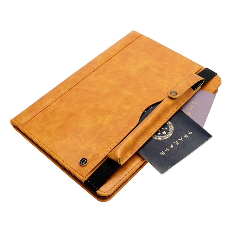"Tablet PC Flip Wallet PU Leather Cover Case with Card Slot Pencil Holder Kickstand for iPad Pro 12.9"" 2018 - Yellow"