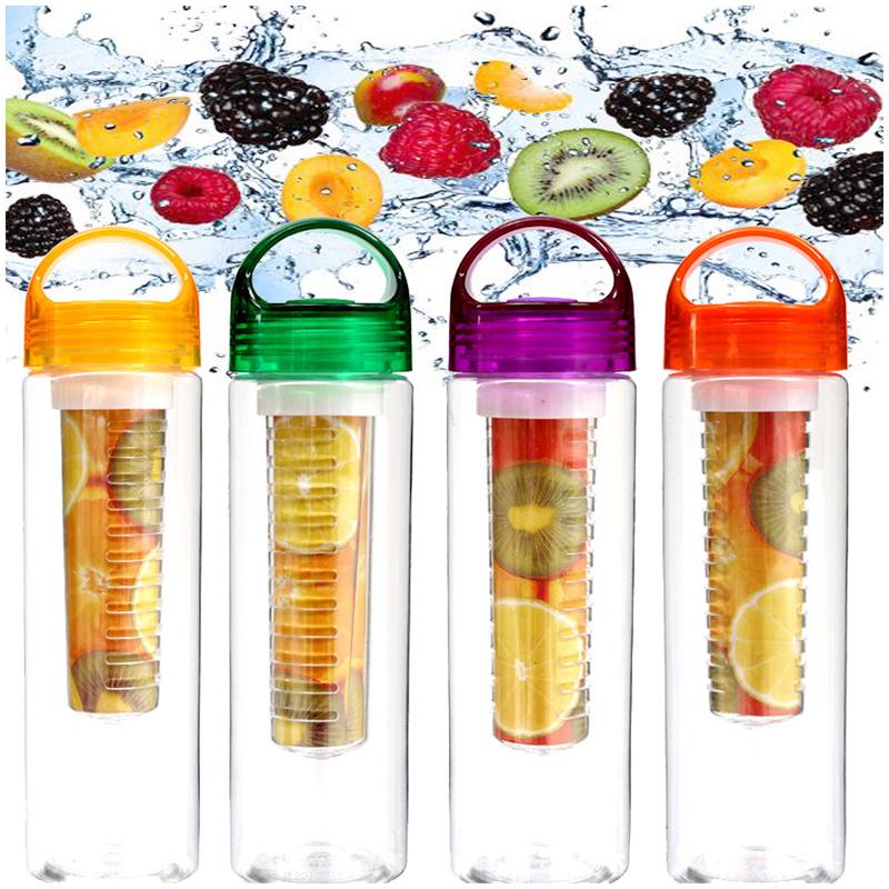 800ML Sport Fruit Infusion Infusing Infuser Water Bottle Health Maker Flip Lid - Orange