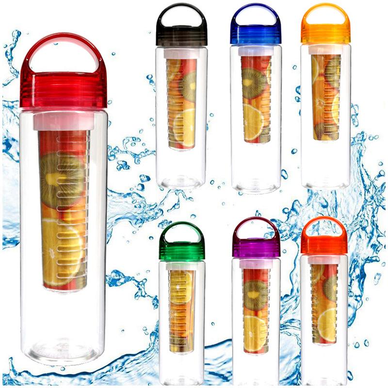 800ML Sport Fruit Infusion Infusing Infuser Water Bottle Health Maker Flip Lid - Red
