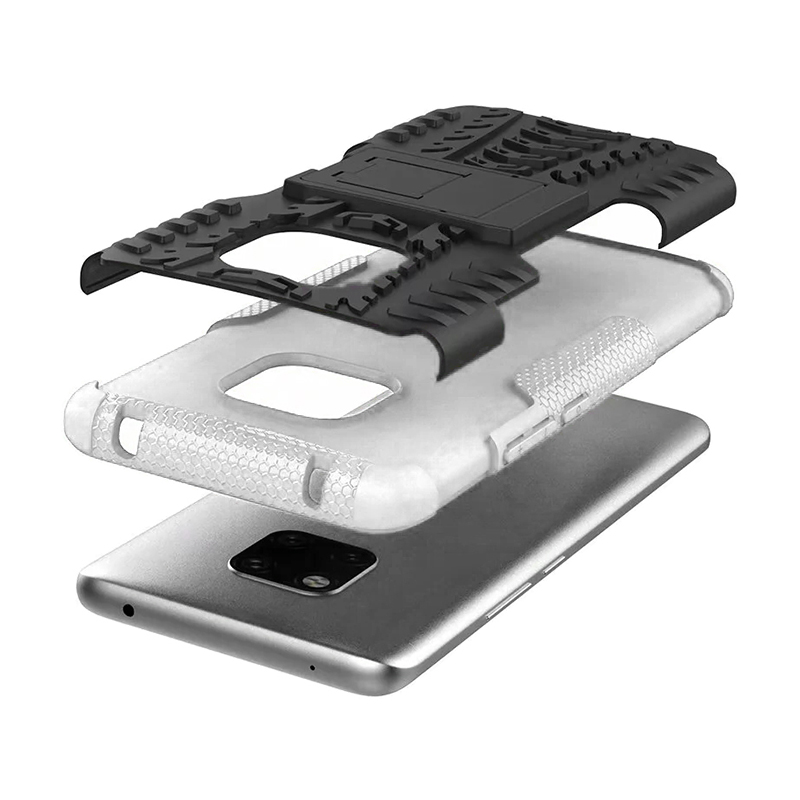 TPU + PC Rugged Hybrid Armor Phone Protective Case for Huawei Mate 20 Pro - White