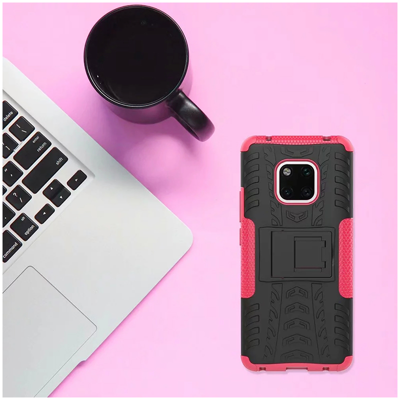 TPU + PC Rugged Hybrid Armor Phone Protective Case for Huawei Mate 20 Pro - Hot Pink