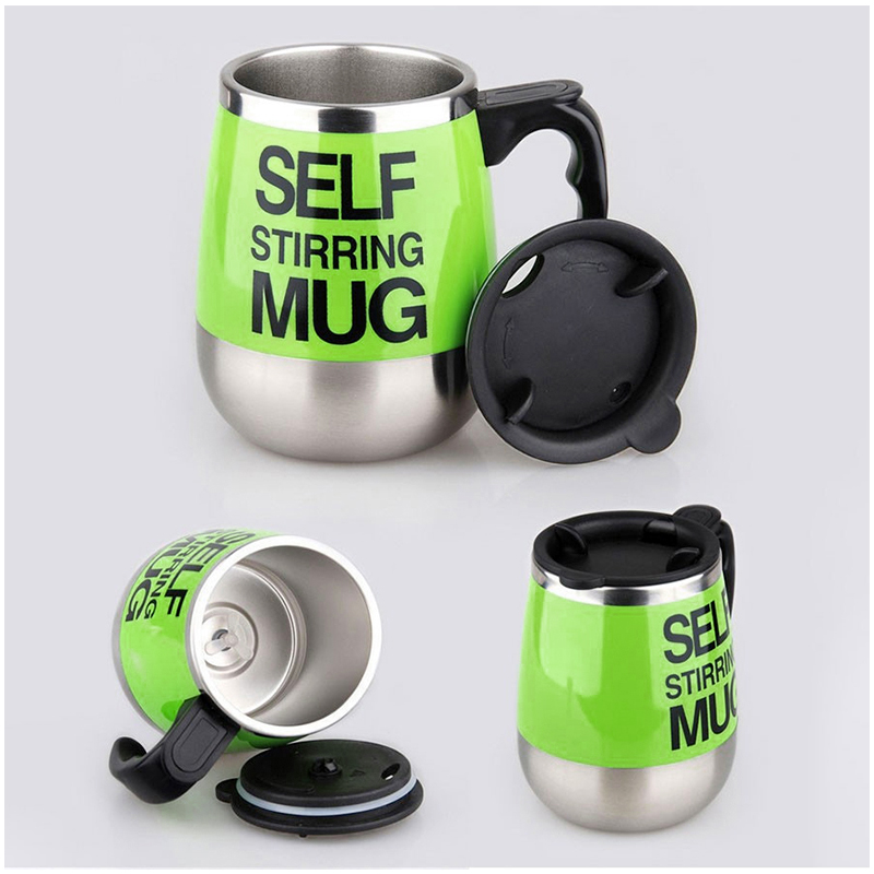 450ML Coffee Cup Mug Thermal Auto Stirring Self Work Office Desk Car Stir Tea Cup Gift - Green