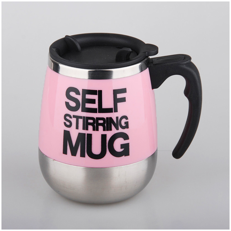 450ML Coffee Cup Mug Thermal Auto Stirring Self Work Office Desk Car Stir Tea Cup Gift - Pink