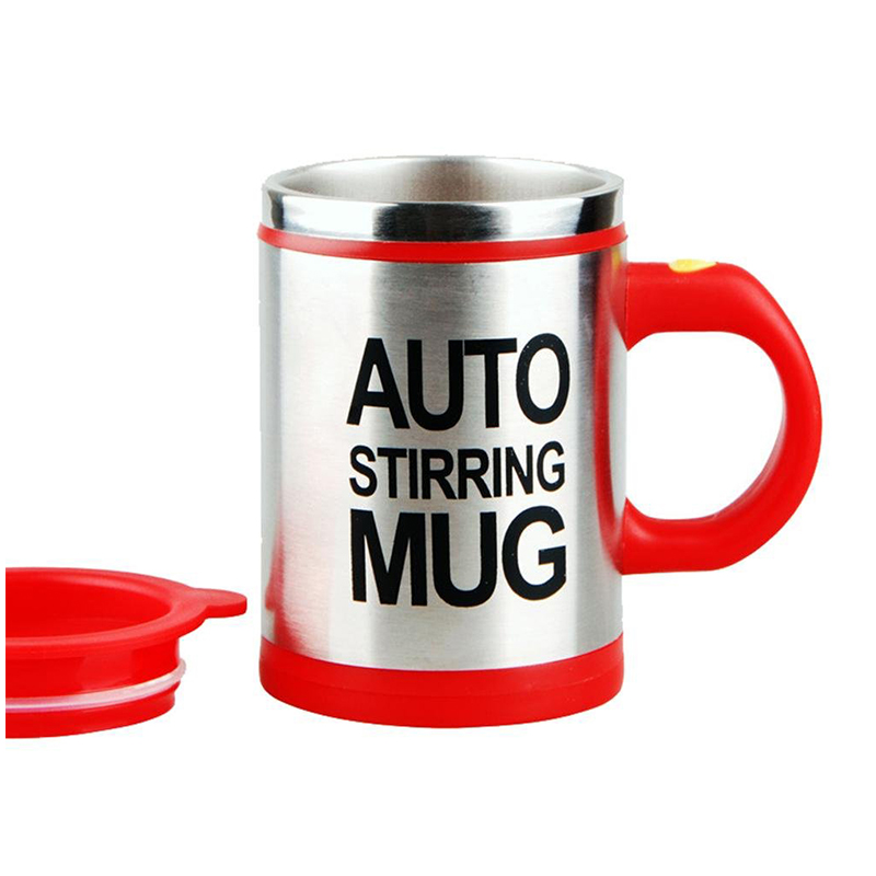 Self Stirring Mug Coffee Cup Auto Mixer Drink Tea Home Insulated Stainless 400ml - Red