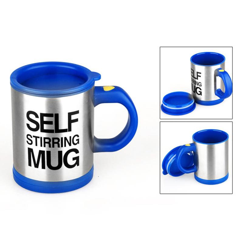 Self Stirring Mug Coffee Cup Auto Mixer Drink Tea Home Insulated Stainless 400ml - Dark Blue