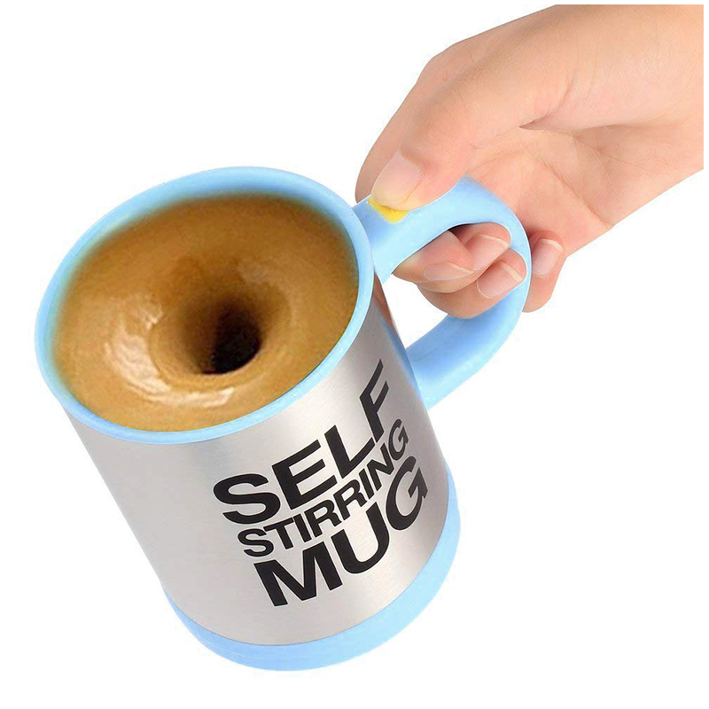 Self Stirring Mug Coffee Cup Auto Mixer Drink Tea Home Insulated Stainless 400ml - Light Blue