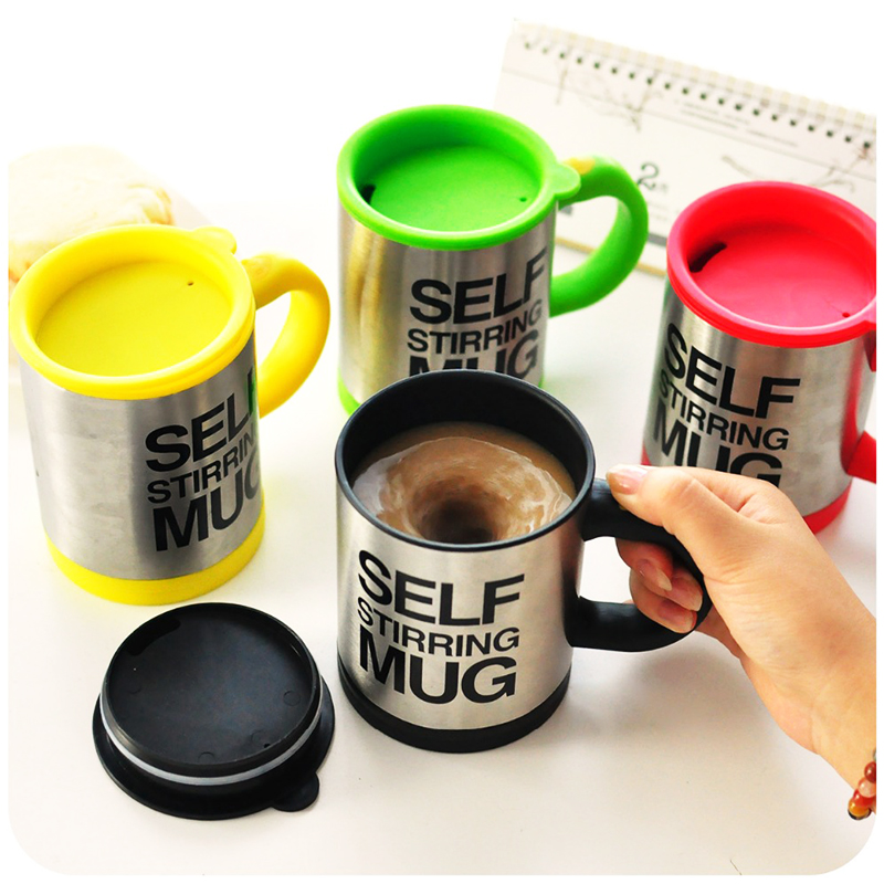 Self Stirring Mug Coffee Cup Auto Mixer Drink Tea Home Insulated Stainless 400ml - Green