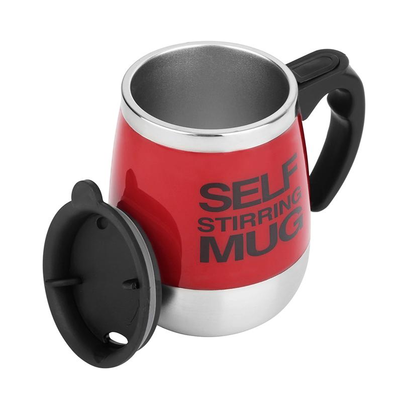 450ML Coffee Cup Mug Thermal Auto Stirring Self Work Office Desk Car Stir Tea Cup Gift - Red