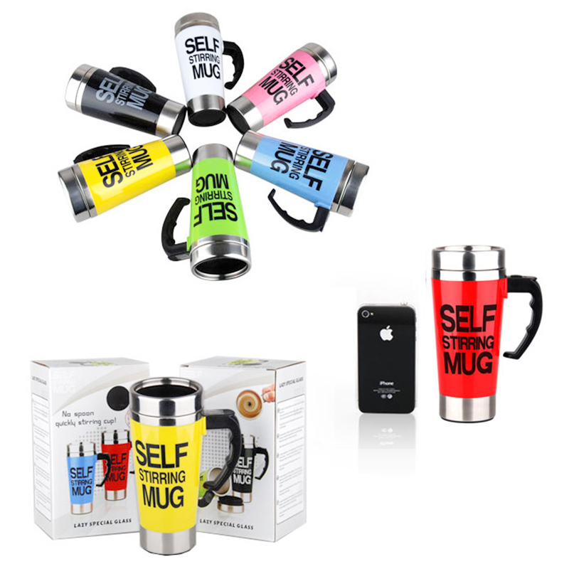 Lazy Auto Stir Mixing Tea Coffee Milk Soup Cup Self Stirring Tall Mug Smart Mixer Cup Travel Mug 450ml - Green