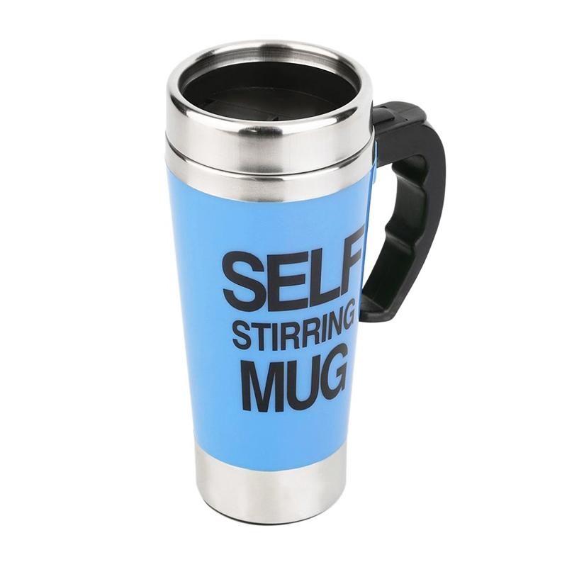 Lazy Auto Stir Mixing Tea Coffee Milk Soup Cup Self Stirring Tall Mug Smart Mixer Cup Travel Mug 450ml - Blue