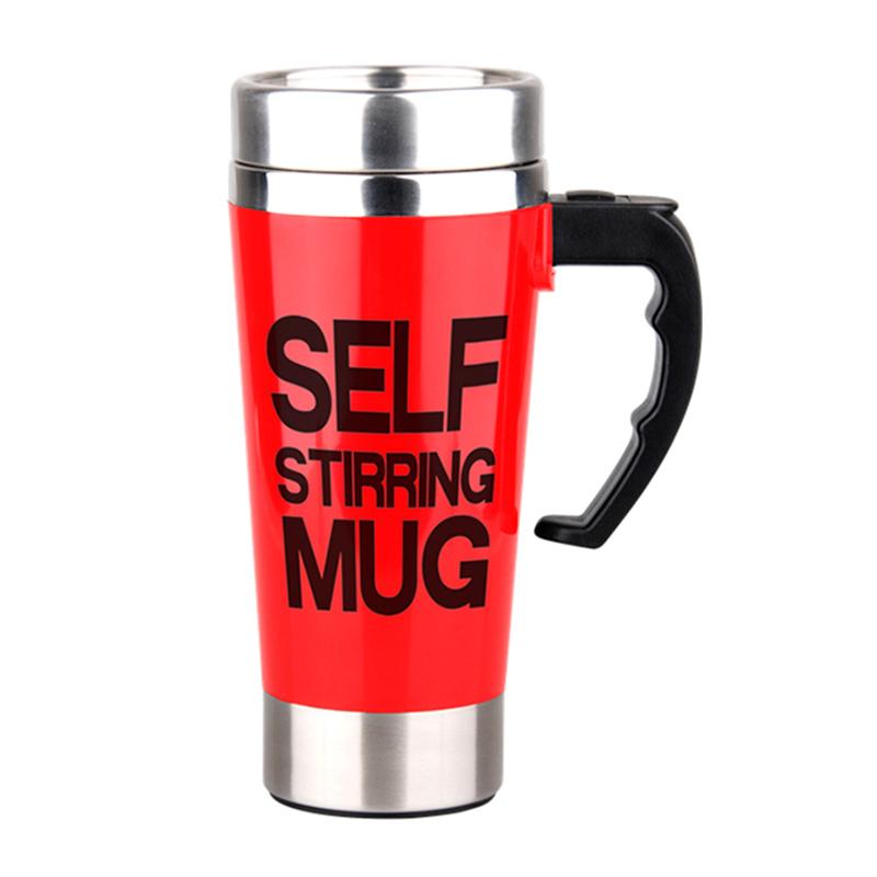 Lazy Auto Stir Mixing Tea Coffee Milk Soup Cup Self Stirring Tall Mug Smart Mixer Cup Travel Mug 450ml - Red