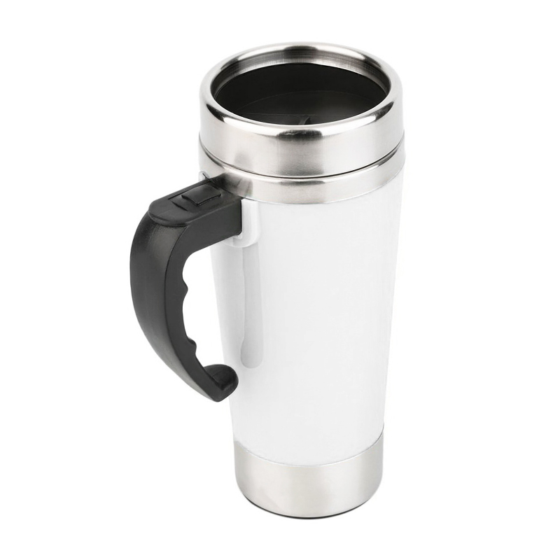 Lazy Auto Stir Mixing Tea Coffee Milk Soup Cup Self Stirring Tall Mug Smart Mixer Cup Travel Mug 450ml - White