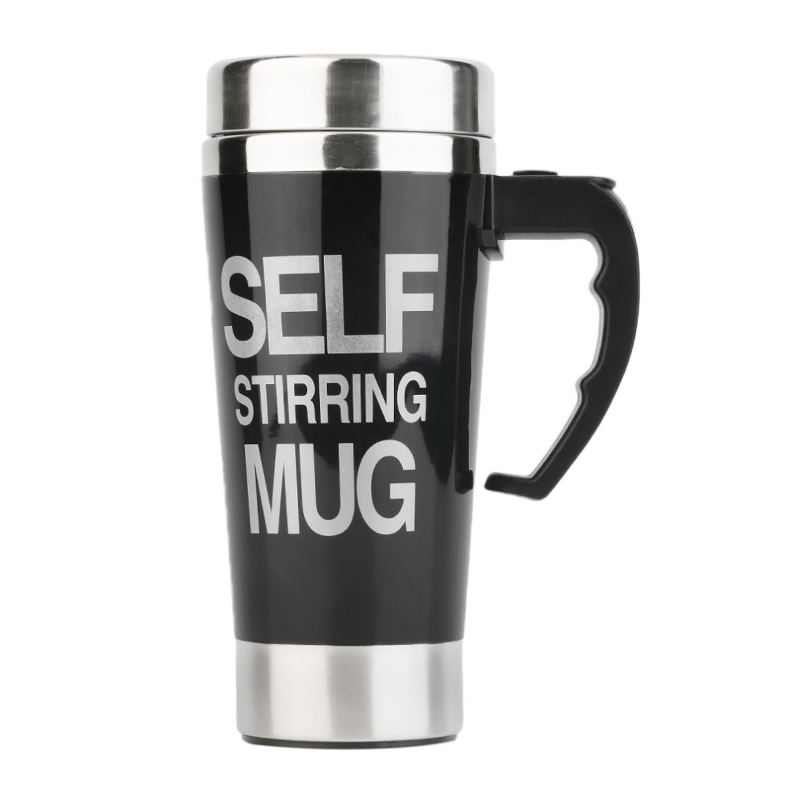 Lazy Auto Stir Mixing Tea Coffee Milk Soup Cup Self Stirring Tall Mug Smart Mixer Cup Travel Mug 450ml - Black