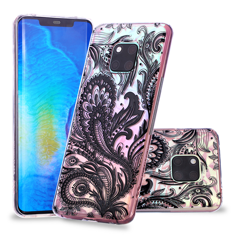 Diamond Relief Protective Silicone Thin Phone Case Cover for Huawei Mate 20 Pro Soft TPU Case - Phoenix Tail