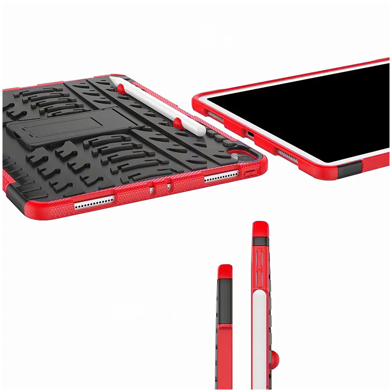 "Heavy Duty Hybrid PC + TPU Rugged Armor iPad Case Cover for iPad Pro 11"" - Red"