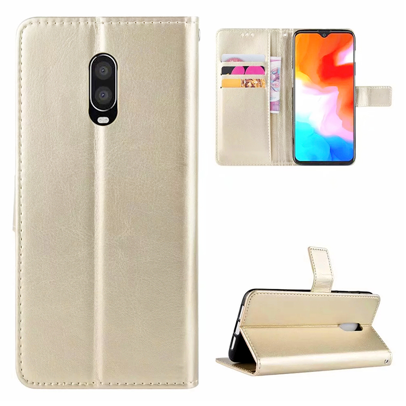 Grainy PU Leather Wallet Flip Stand Phone Case Mobile Phone Cover for Oneplus 6T - Gold